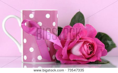 Pink Ribbon Charity For Womens Breast Cancer Awareness Fund Raising With Pink Polka Dot Coffee Mug A