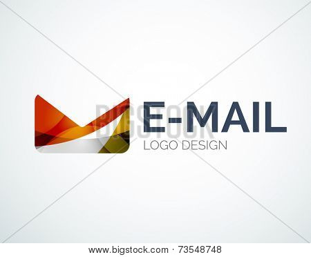 Abstract email logo design made of color pieces - various geometric shapes