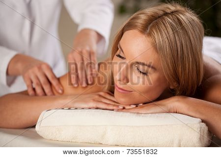 Beautiful Woman Having Arm Massage
