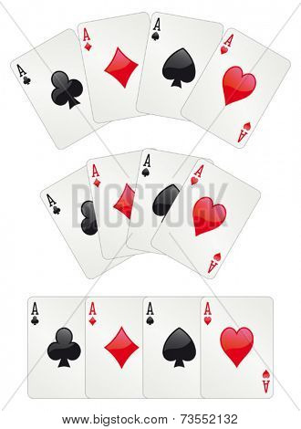 Glossy aces poker, three different arrangements