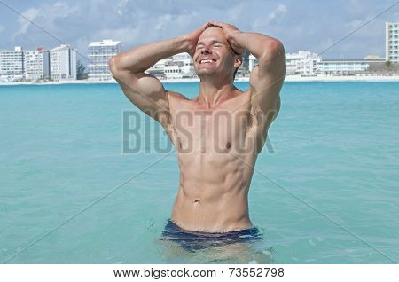 Sexy Man In Sea