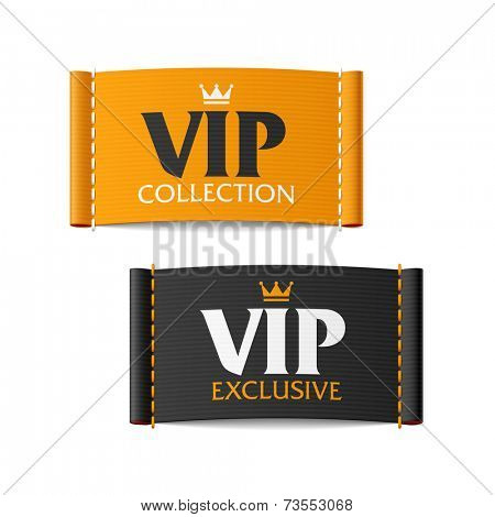 VIP collection and VIP exclusive labels. Vector.