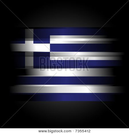 Abstract Flag Of Greece On Black Background