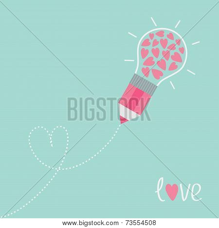 Pencil With Light Bulb And Hearts. Dash Line Heart. Flat Design Love Card