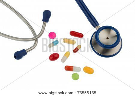 colorful tablets and stethoscope, symbol photo for diagnostics, heart disease and interactions
