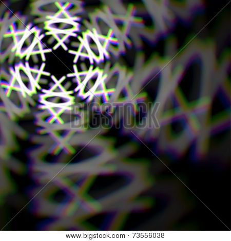 Blurred christmas snowflake sign with aberrations