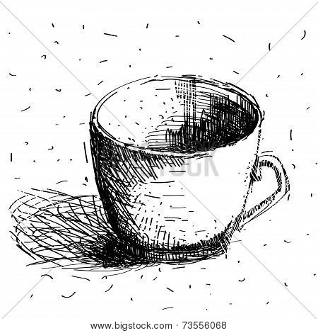 Scribble Coffee Cup Isolated On White Background. Hand Drawing Sketch