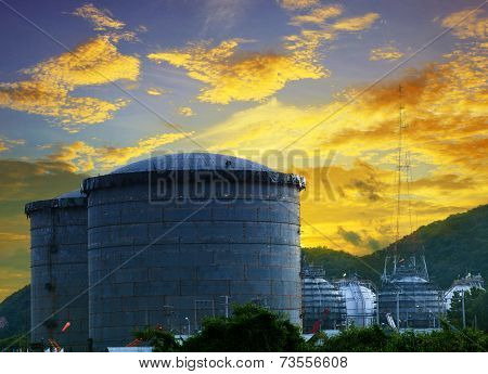 Landscape Of Construction Site Oil Storage Tank In Refinery Petrochemical Industry Plant Against Bea