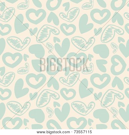 Fun seamless vintage love heart background in. pretty colors.