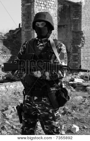 Soldier With A Rifle On Guard