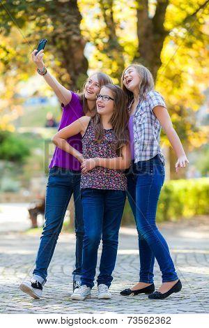 Teenage Girls Making Selfie