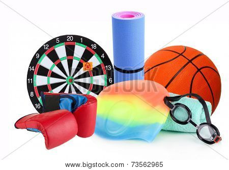 Sporting goods isolated on white