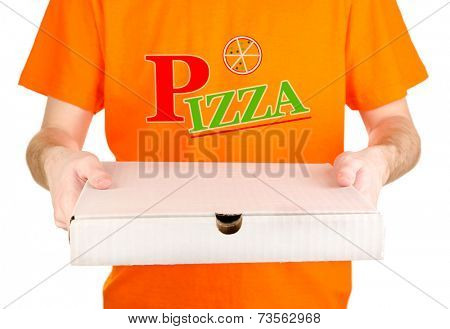 Pizza delivery courier isolated on white