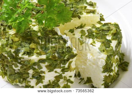 detail of chives cheese with parsley