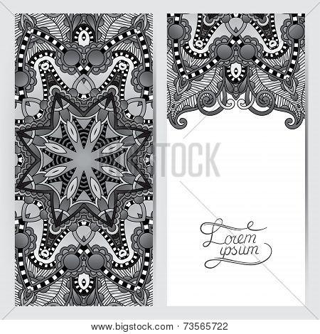 grey decorative label card for vintage design, ethnic pattern