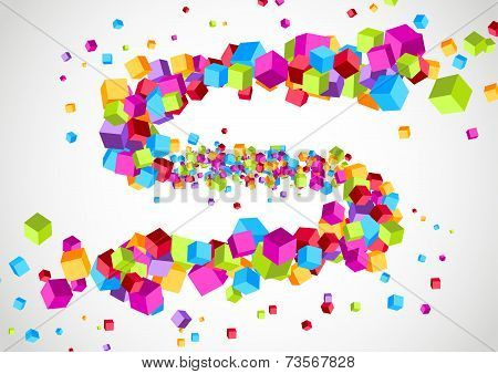 Colorful Bright Cubic Particle Tornado Swoosh