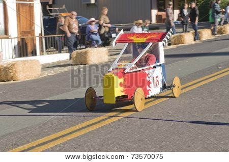 West Point, CA October 4, 2014: Lumberjack day, a typical slice of Americana, a children's soapbox race down Main St, starting the events for the day in this small American Sierra foothills community