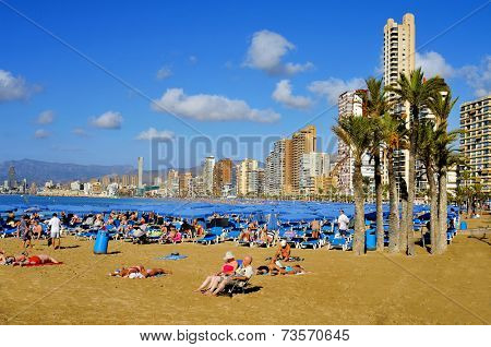 BENIDORM, SPAIN - SEPTEMBER 23: Vacationers in Levante Beach on September 23, 2014 in Benidorm, Spain. Benidom, called sometimes Beniyork, is a major destination for sun and beach for European tourism