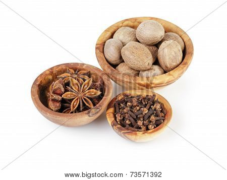 Set Of Spices With Nutmeg Anise And Cloves