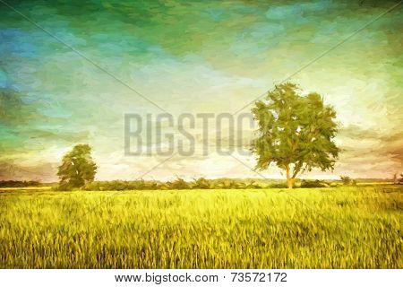 Beautiful summer fields of wheat with dramatic sky/digital painting