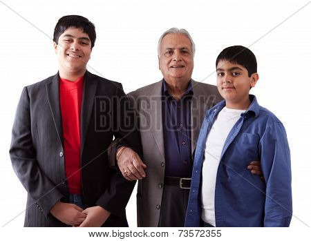 East Indian Grandfather And Grandkids
