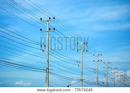 Power Lines On The Blue Sky