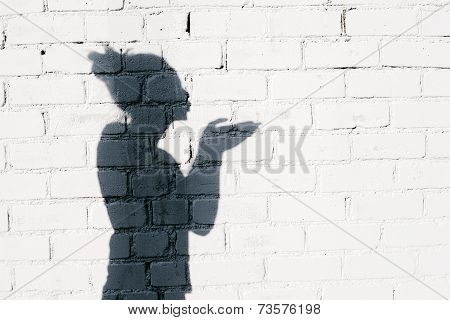 Pretty Girl Sending An Air Kiss Around On The Brick Wall Background