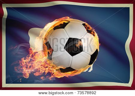 Soccer Ball With Flag On Background Series - Wyoming