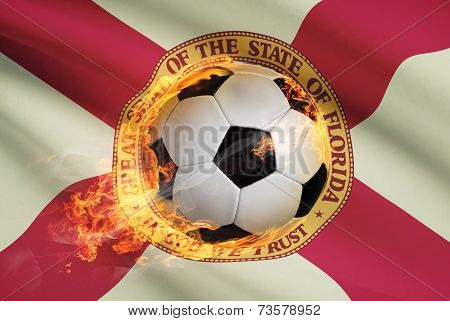 Soccer Ball With Flag On Background Series - Florida
