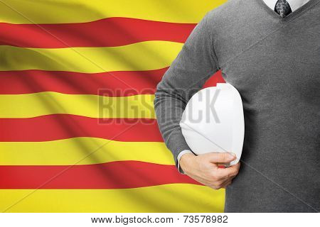 Engineer With Flag On Background Series - Catalonia
