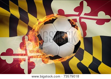 Soccer Ball With Flag On Background Series - Maryland