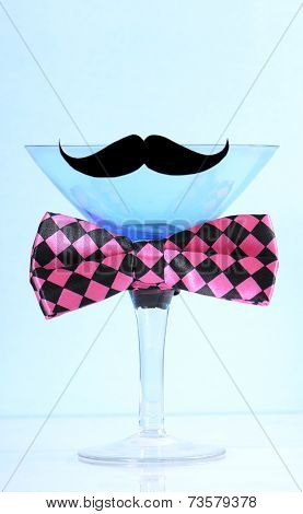Movember Fundraising For Mens Health Awareness Charity With Mustache And Bow Tie On Blue Martini Coc