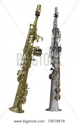 The image of a clarinet isolated under a white background