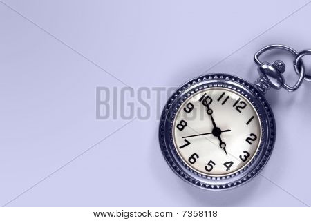 Pocket Watch And Blue Copy Space