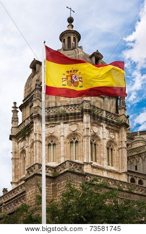 Toledo Cathedral With Spanish Flag