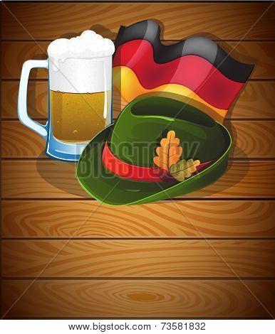 Beer Mug, German Flag And  Oktoberfest Hat