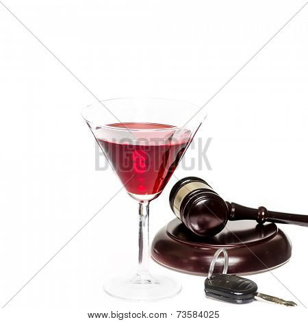Legal law concept image - drink driving - alcohol, car keys and gavel