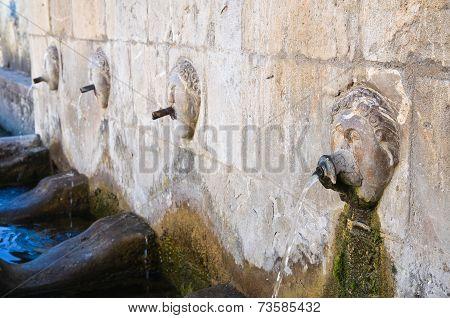 Monumental fountain. Satriano di Lucania. Southern Italy.