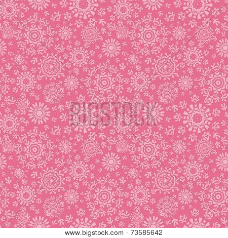 Folk pink floral circles texture abstract seamless pattern background