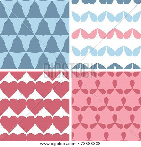 Four matching bold shapes seamless patterns background set