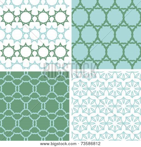 Four abstract moss green motives seamless patterns set
