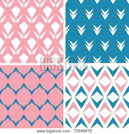 Four abstract pink blue arrows geometric seamless patterns set