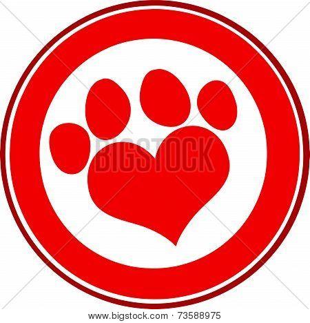 Love Paw Print Red Circle Banner Design