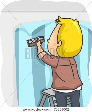 Illustration Featuring a Man Installing Wallpaper