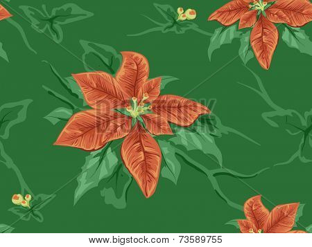 Seamless Background Featuring Poinsettia Patterns