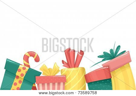 Border Illustration Featuring Christmas Gifts