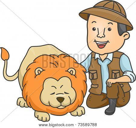 Illustration of a Safari Caretaker Petting a Lion