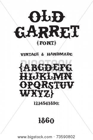 Vintage western victorian handmade font