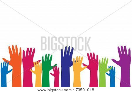 Colorful hand, raise up for vote concept