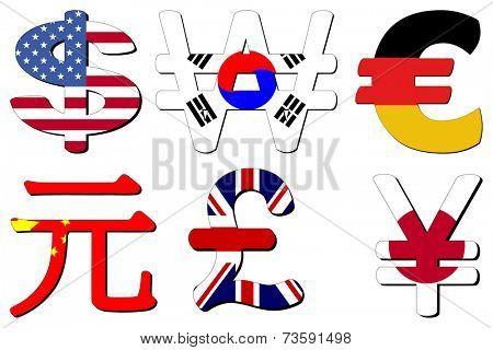 American Dollar Korean Won German Euros Chinese Yuan British Pounds and Japanese Yen flag symbols vector illustration
